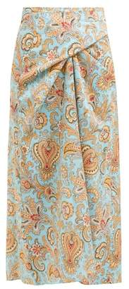 Etro Paisley Print Cotton Midi Skirt - Womens - Light Blue