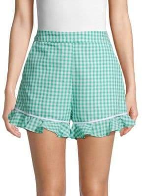 ENGLISH FACTORY Gingham Ruffled Cotton Shorts