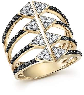Bloomingdale's Black and White Diamond Micro Pavé Statement Ring in 14K Yellow Gold - 100% Exclusive