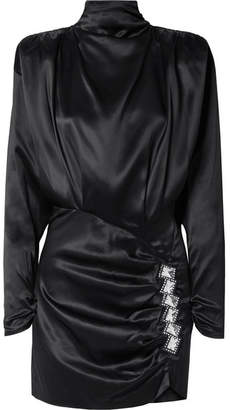 Alessandra Rich - Embellished Open-back Ruched Satin Mini Dress - Black
