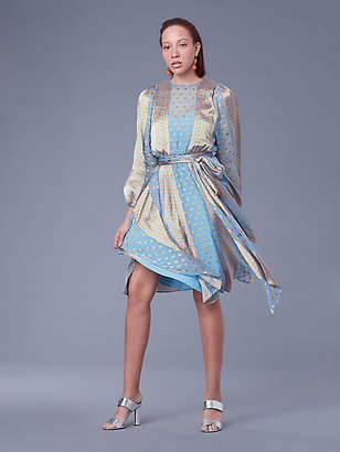 Diane von Furstenberg Long-Sleeve Waist Tie Draped Satin Midi Dress