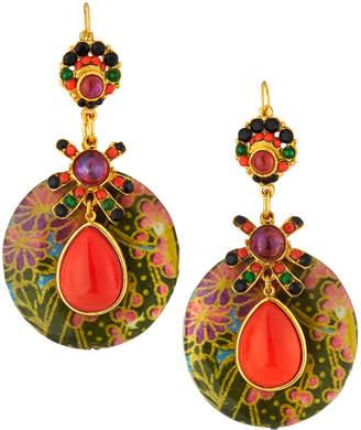 Jose & Maria Barrera Decoupage Wood Drop Earrings, Coral