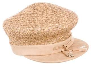 Eric Javits Suede-Trimmed Straw Hat