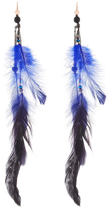 Nakamol Long Beaded-Feather Drop Earrings