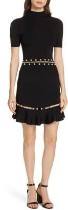 Alice + Olivia Evelyn Embellished Fit & Flare Dress