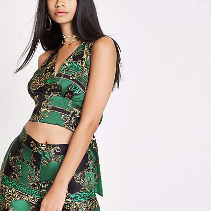 River Island RI 30 green print halter neck crop top