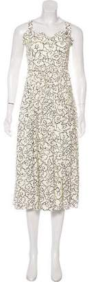 ALEXACHUNG Printed Midi Dress