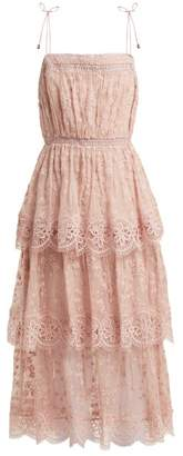 Zimmermann Castile Embroidered Silk Chiffon Dress - Womens - Light Pink