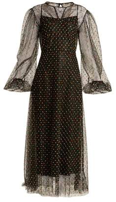 Emilia Wickstead Camelita Embroidered Abstract Lace Dress - Womens - Black Multi