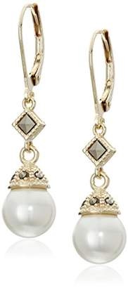 Judith Jack Classics Sterling Silver/Gold-Tone Pearl Drop Earrings $80 thestylecure.com