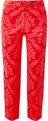 Simone Rocha Feather-trimmed Cotton-blend Brocade Straight-leg Pants - Red