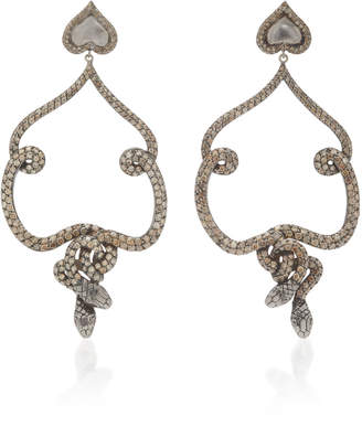Sylvie Corbelin Salome 18K White Gold Diamond and Spinel Earrings