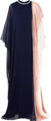 Reem Acra Crystal-embellished Draped Silk-chiffon Gown - Navy