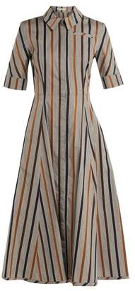 Emilia Wickstead Jamil Striped Cotton Midi Dress - Womens - Grey Stripe