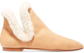 Eros Shearling-trimmed Suede Ankle Boots - Beige