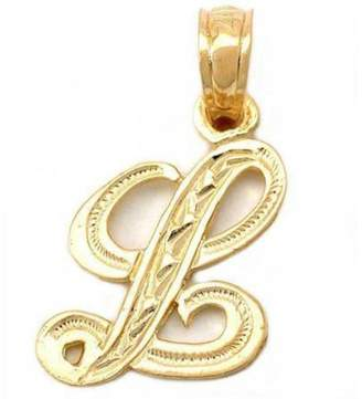 "FindingKing Cursive Letter ""L"" Charm 14k Gold 14mm"