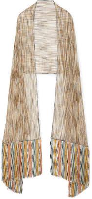 Missoni Fringed Metallic Crochet-knit Wrap - Green