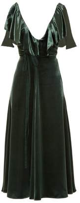 Valentino - Deep V Neck Velvet Midi Dress - Womens - Green