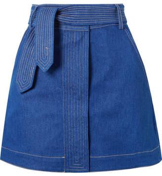 Paper London Belted Denim Mini Skirt - Blue
