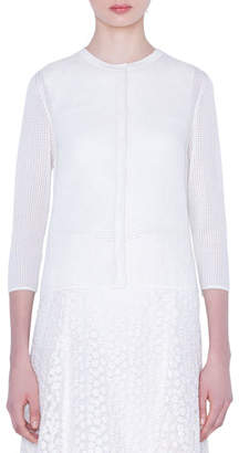 Akris Grid-Print Silk Stretch Cardigan