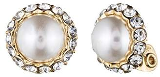 Anne Klein Pearl Perfection Gold Tone Faux Pearl Clip Earrings