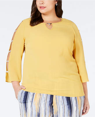 JM Collection Plus Size Ladder-Sleeve Top, Created for Macy's