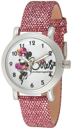 DISNEY MINNIE MOUSE Disney Minnie Mouse Womens Purple Strap Watch-Wds000256