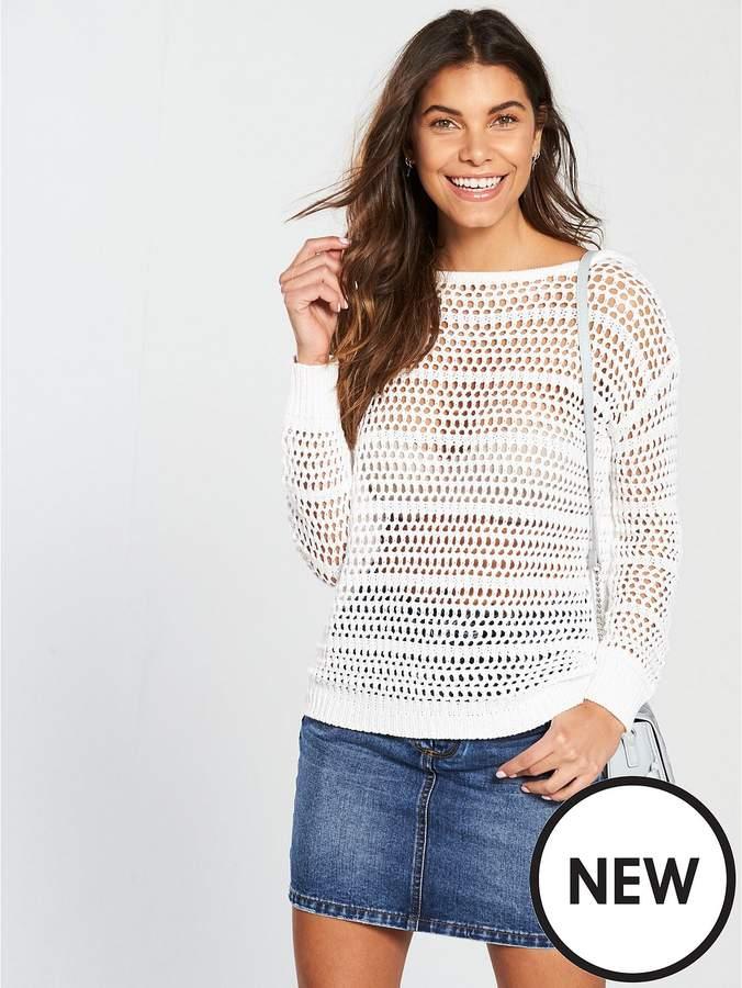 Open Fringe Back Knit – White