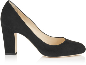 Jimmy Choo BILLIE 85 Black Suede Round Toe Pumps with Chunky Heel