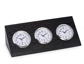 Bey-Berk Bey Berk Wood Triple Time Zone Clock