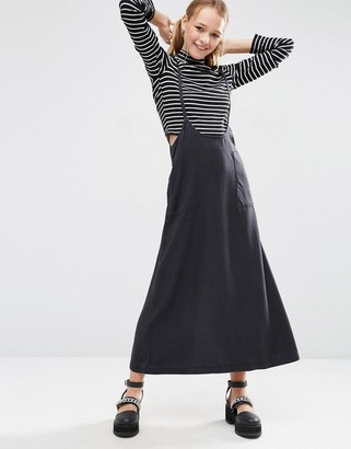ASOS Denim Skirt in Awkward Length with Suspenders $58 thestylecure.com