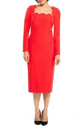 Maggy London Square Neck Dream Crepe Midi Dress