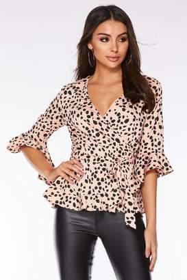 Quiz Pink and Black Dalmatian Print Wrap Top