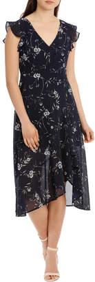 Miss Shop Frill Skirt Flutter Sleeve Maxi Dress - Spaced Floral