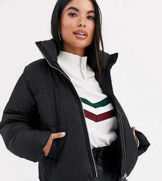 New Look Petite puffer jacket in black