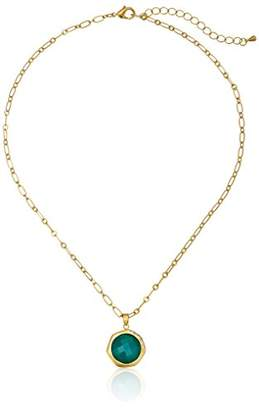 """clear Riccova """"City Lights"""" Satin 14K Gold Plated Cubic Zirconia Accented Faceted Stone Pendant Necklace"""