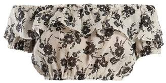 Miu Miu Floral Print Off The Shoulder Top - Womens - White Black
