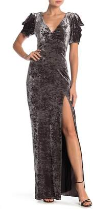 ABS by Allen Schwartz Velvet V-Neck Maxi Dress