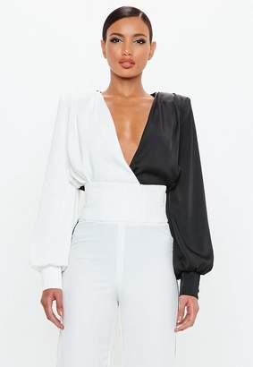 Missguided Black Satin Colour Block Bodysuit