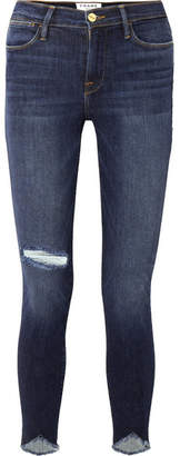 Frame Le High Skinny Sweetheart Distressed High-rise Jeans - Dark denim