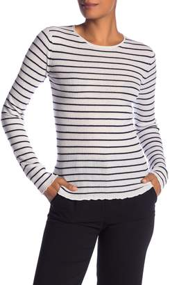 Vince Striped Ribbed Cashmere Long Sleeve Tee