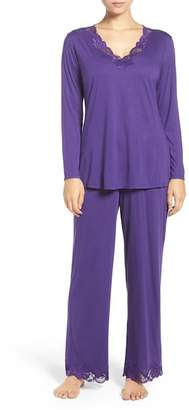 Natori Lace Trim Pajama Set $160 thestylecure.com