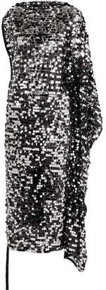 MM6 MAISON MARGIELA Convertible Sequined Tulle And Stretch-lamé Midi Dress - Black