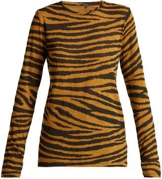 Tiger Print Long Sleeved Cotton T Shirt - Womens - Beige Multi