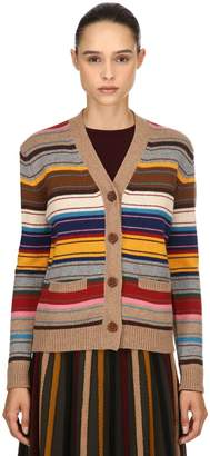 Antonio Marras Striped Wool Blend Knit Cardigan