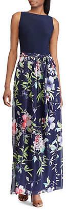 Chaps Floral Skirt Sleeveless Maxi Dress