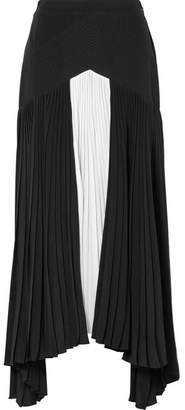 Givenchy Asymmetric Pleated Two-tone Silk Crepe De Chine Maxi Skirt - Black