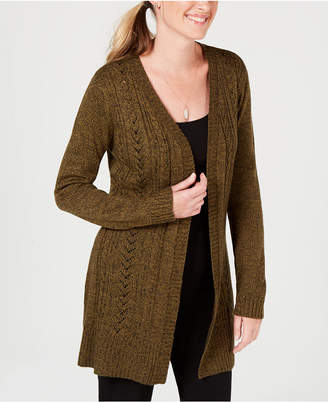 Karen Scott Cable-Knit Duster Cardigan