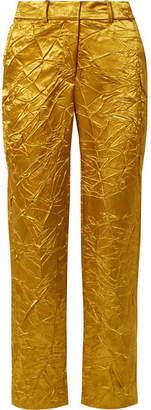 Sies Marjan Willa Crinkled Satin-twill Straight-leg Pants - Gold