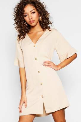 boohoo Flute Sleeve Mock Horn Button Detail Shift Dress